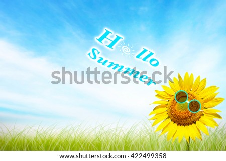 Beautiful landscape sunflower in garden. Abstract blurred on summer soft focus clouds blue skyline with green grass background. Flowers yellow and green during the daytime with bright sun rays light. - stock photo