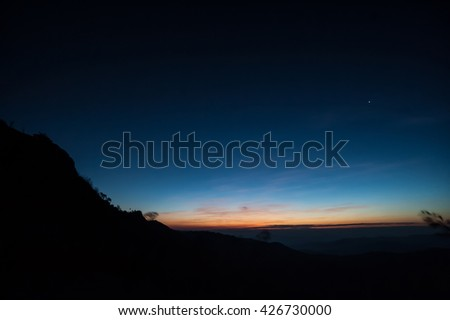 Beautiful landscape sunset nature background Mountains and sky