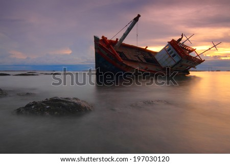 Beautiful landscape The boat capsized at sunset