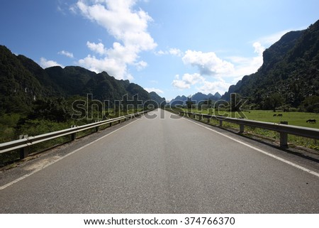 Beautiful Landscape Vietnam, Ho Chi Minh highway on the Annamite Range from Quang Binh to Ha Tinh. Near the Phong Nha National Park.