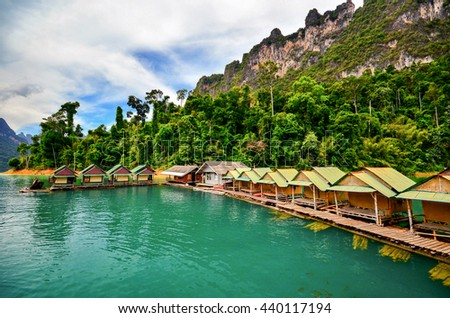 beautiful landscape view of a raft of resort in ratchaprapa dam,background with lake and mountain scenic view,Khao sok national park  in surat thai ,southern of Thailand