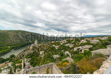 Beautiful landscape view of Pocitelj old town, Bosnia and Herzegovina, Europe
