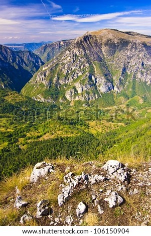 Beautiful landscape view of The Tara Canyon in Durmitor, Montenegro, Europe - stock photo