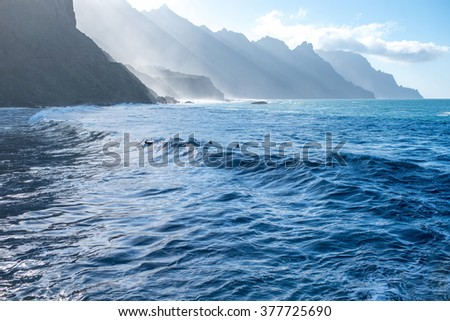 Beautiful landscape view on the ocean and rocky coastline near Taganana village in northeastern part of Tenerife island, Spain