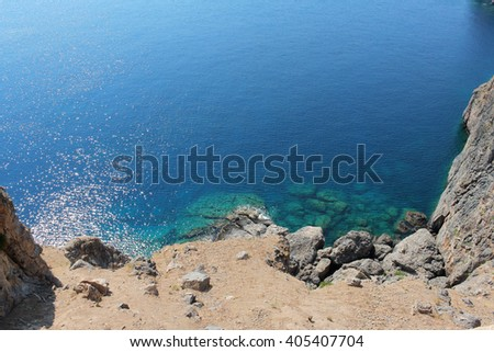 Beautiful landscape view with a coast and a sea background, Sea landscape. Color sea landscape. Amazing sea landscape. Sea view. Sea under sunlight. Calm sea. landscape Colorfull sea landscape. Greece - stock photo