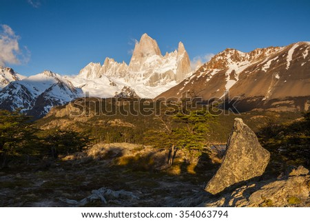 Beautiful landscape with Fitz Roy. Patagonia. Argentina. - stock photo