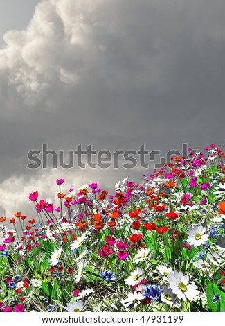 Beautiful landscape with flowers - stock photo