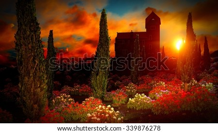 Beautiful landscape with flowers and castle - stock photo