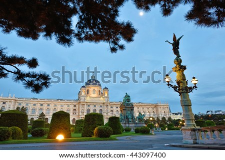 Beautiful landscape with  Kunsthistorisches (Fine Arts Museum) and park Maria-Theresien in Vienna, Austria, Europe  - stock photo