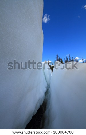Beautiful landscape with melting snow in Wyoming Snowy Range Mountains - stock photo
