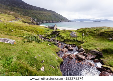 Beautiful landscape with mountains and ocean. Achill Ireland, view at Keem beach. - stock photo