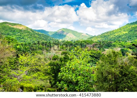 Beautiful landscape with mountains in western Cuba - stock photo