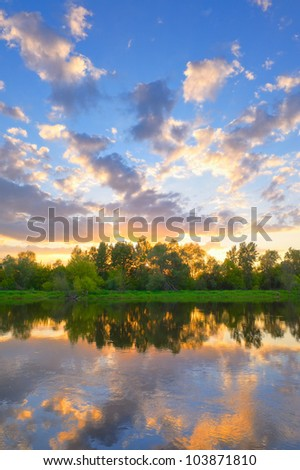 Beautiful landscape with Narew river, Poland - stock photo