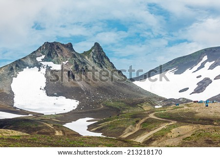 Beautiful landscape with paek Camel at the foot of the volcano Avachinsky - Kamchatka, Russia - stock photo