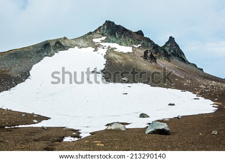 Beautiful landscape with peak Camel at the foot of the volcano Avachinsky - Kamchatka, Russia - stock photo