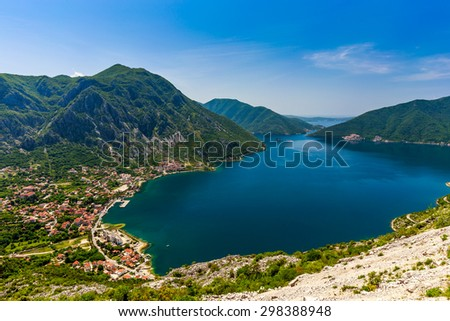 Beautiful landscape with Risan town ,sea and mountains. Montenegro / Montenegro seashore, Bay of Kotor - stock photo