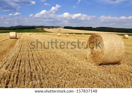 Beautiful landscape with straw bales in end of summer - stock photo