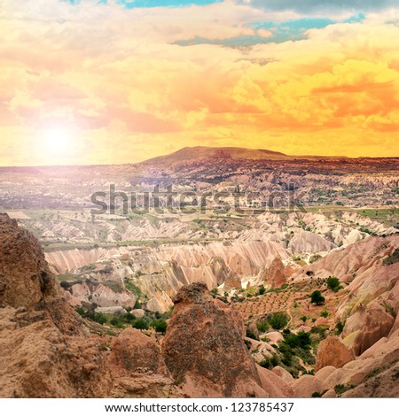 Beautiful landscape with sunset in the Cappadocia mountains