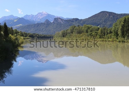 Beautiful landscape with the Salzach river and the mountain Hoher Goell. Puch, near the city Salzburg, Austria.
