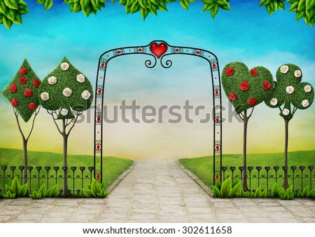 Beautiful landscape with  trees, topiary and roses - stock photo