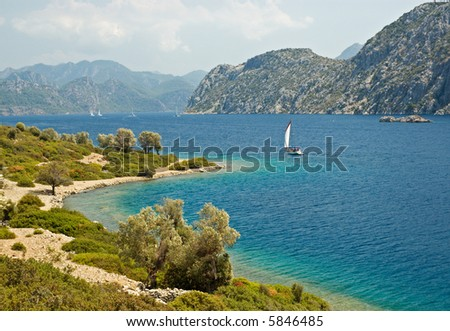 Beautiful Landscape with Yachts and mountains - stock photo