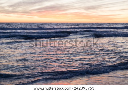 Beautiful landscaped image of sunset over sea