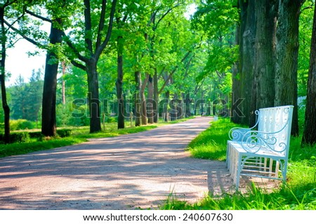 beautiful landscaped park summer day - stock photo
