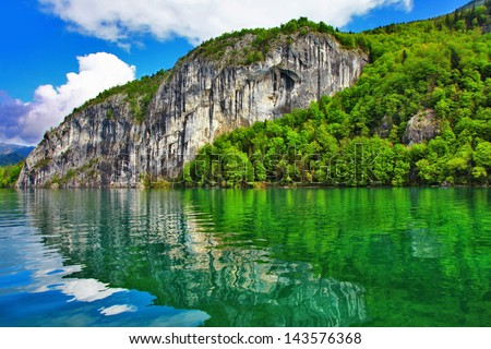beautiful landscapes of Austrian lakes - st.Wolfgang - stock photo