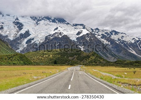 Beautiful landscapes of mountains in MIlford Sound of New Zealand - stock photo