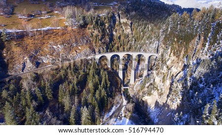 beautiful Landwasser Viaduct in Switzerland, aerial view