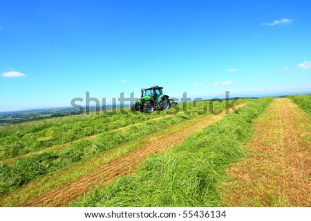Beautiful lansdscape with Haymaking in Sotland - stock photo