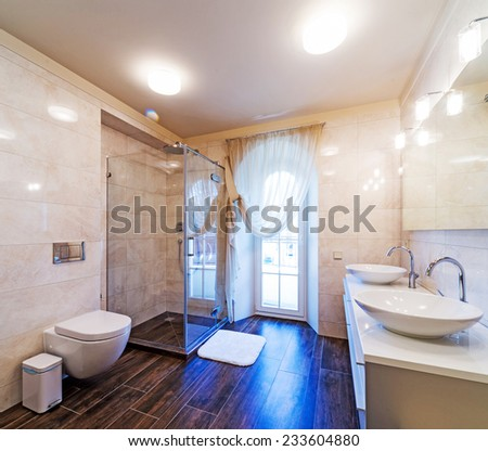 Beautiful Large Bathroom in Luxury Home  - stock photo