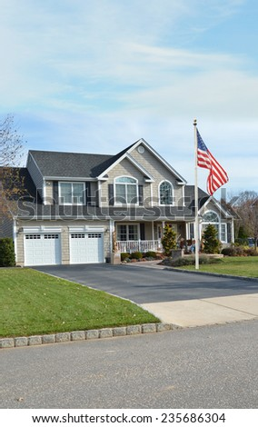 Beautiful large suburban Mcmansion house residential neighborhood USA