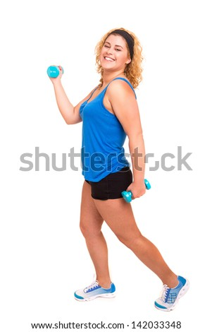 Beautiful large woman exercising - isolated over a white background - stock photo