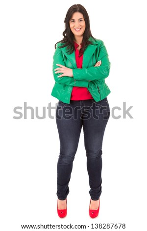 Beautiful large woman posing isolated over a white background - stock photo