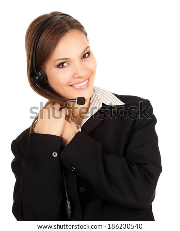 Beautiful laughing cheerful woman with headphones, white background - stock photo