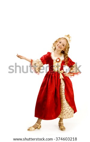 Beautiful Laughing Little Girl With Long Blonde Hair in the Princess Costume Showing Something Hand - stock photo