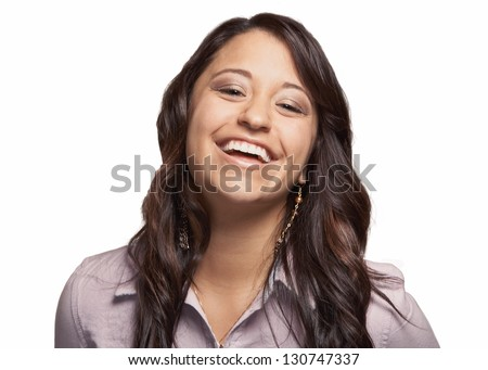Beautiful laughing mixed race young woman isolated