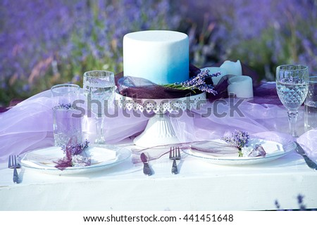 Beautiful lavender cake, wedding decor in lavender field - stock photo