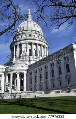Beautiful lawn and exterior of state capitol in Madison, Wisconsin - stock photo