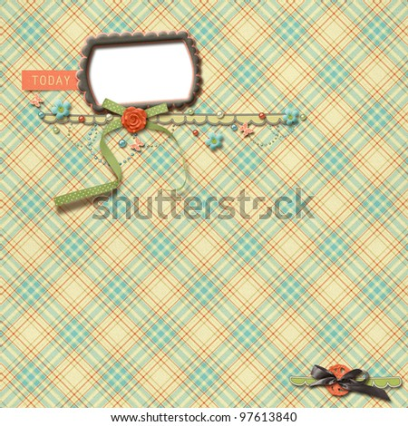 Beautiful layout with checkered background - stock photo