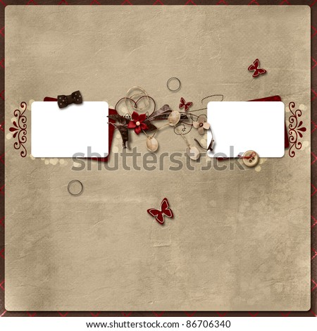 Beautiful layout with two photo frames - stock photo