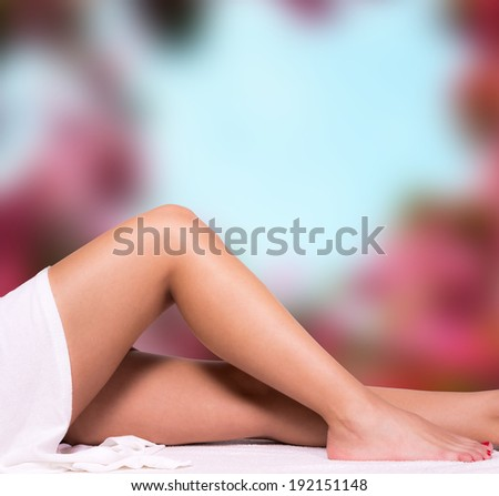 Beautiful legs with blur background, - stock photo