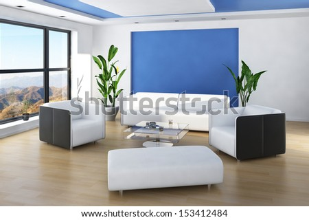 Beautiful light living room interior with blue colored wall and white furniture - stock photo