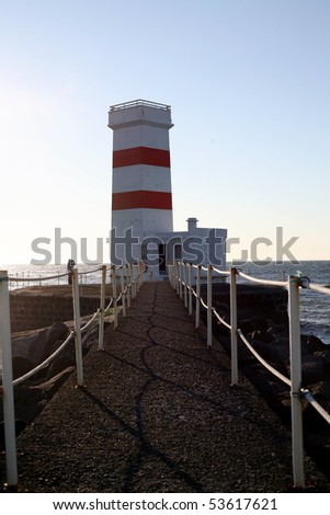 beautiful lighthouse in Iceland - stock photo