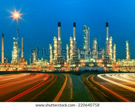beautiful lighting of oil refinery plant in  heavy petrochemical industry estate use for power ,energy and petroleum industrial topic - stock photo