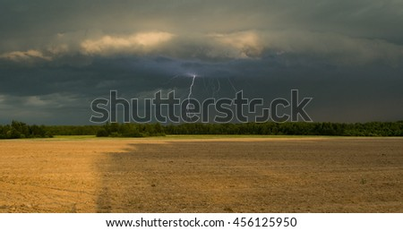 Beautiful lightning in the field in summer