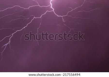 Beautiful lightning light at night - stock photo