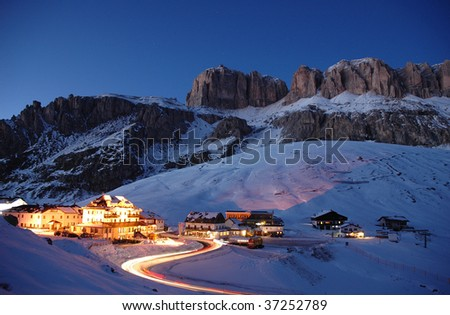beautiful lights in the mountains - stock photo