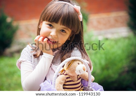 beautiful liitle girl outdoor in park - stock photo